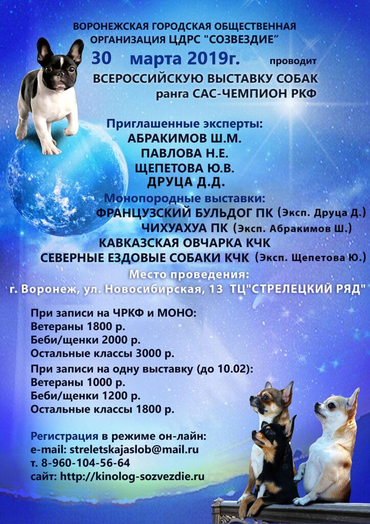 30 марта 2019 Всероссийская выставка собак ранга САС-Чемпион РКФ + монопородные выставки